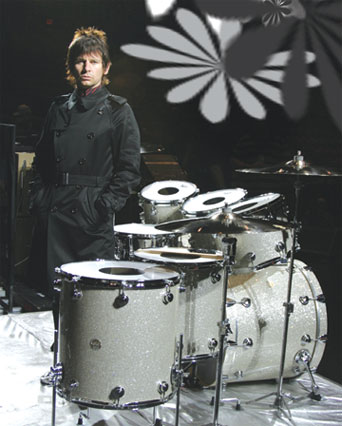 drummer  Zak Starkey with his kit
