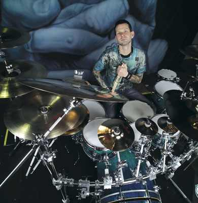 Chad Szeliga of Breaking Benjamin in Modern Drummer Magazine
