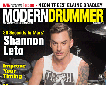 August 2014 Issue of Modern Drummer Featuring Shannon Leto of 30 Seconds to Mars
