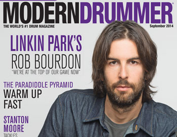 September 2014 Issue of Modern Drummer featuring Rob Bourdon of Linkin Park