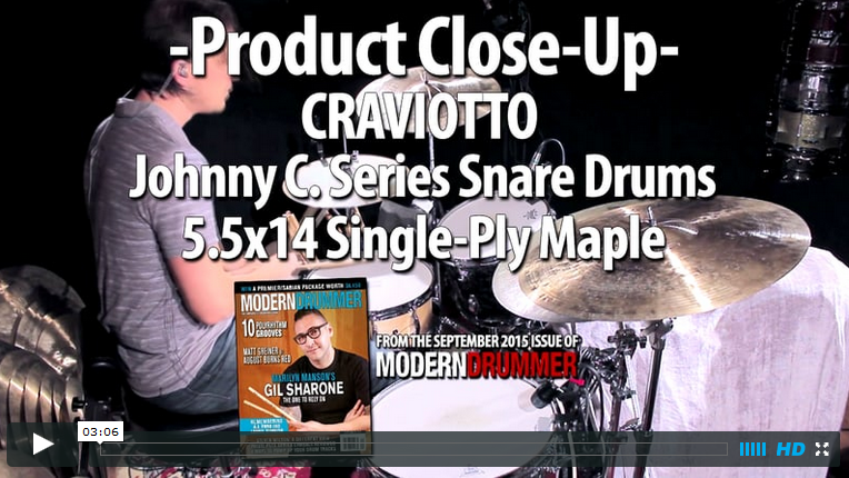 VIDEO DEMO: Craviotto Johnny C. Series Snare Drums