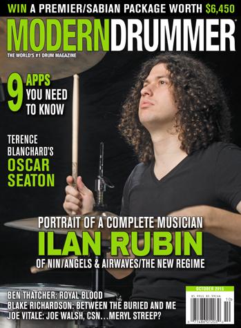 October 2015 Issue of Modern Drummer featuring Ilan Rubin
