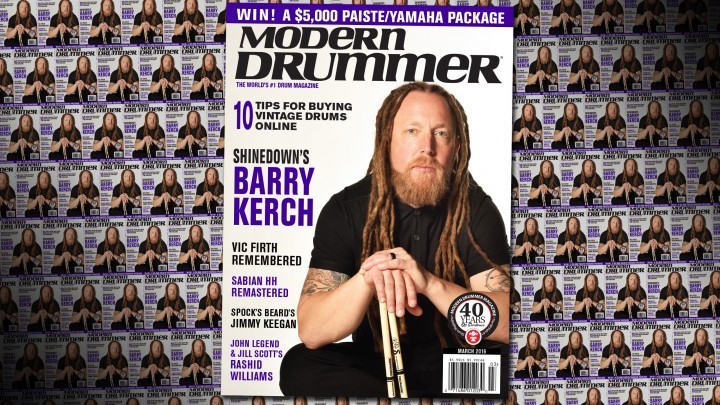 March 2016 Issue of Modern Drummer featuring Barry Kerch