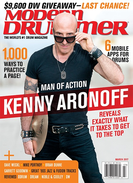 MODERN DRUMMER MARCH 2017 Cover featuring Kenny Aronoff