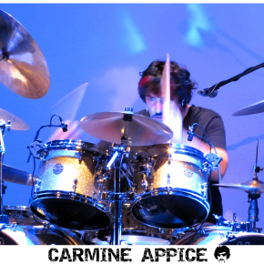 Drummer Carmine Appice behind the kit