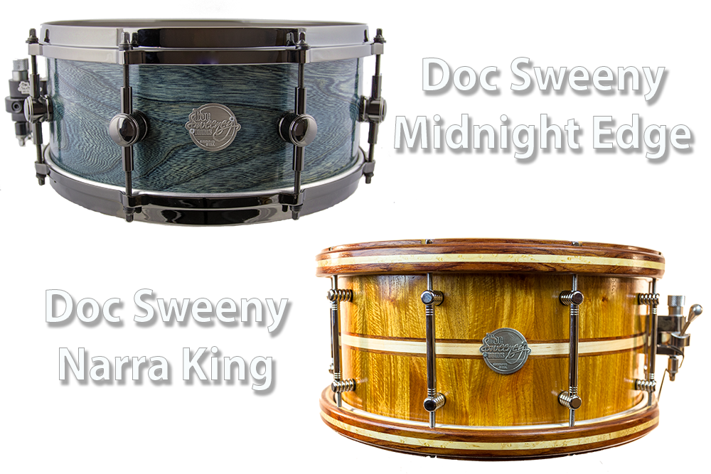 Video Demo! Doc Sweeny - Midnight Edge and Narra King Snare Drums