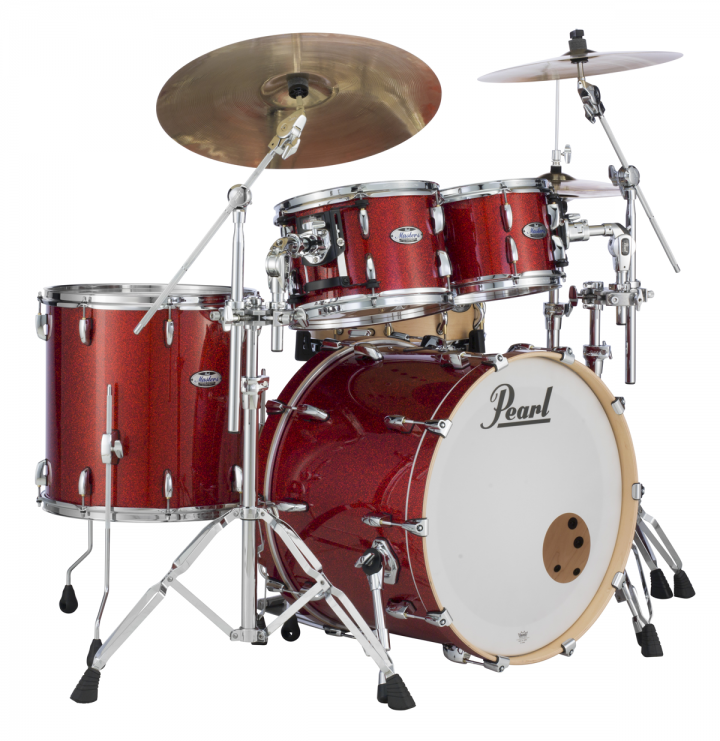 Pearl Masters Maple Complete shell pack in Vermillion Sparkle finish