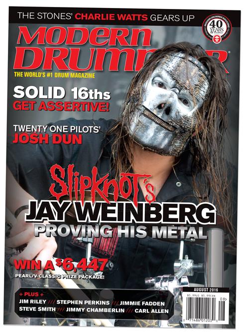 Slipknot's Jay Weinberg on the August 2016 issue of Modern Drummer