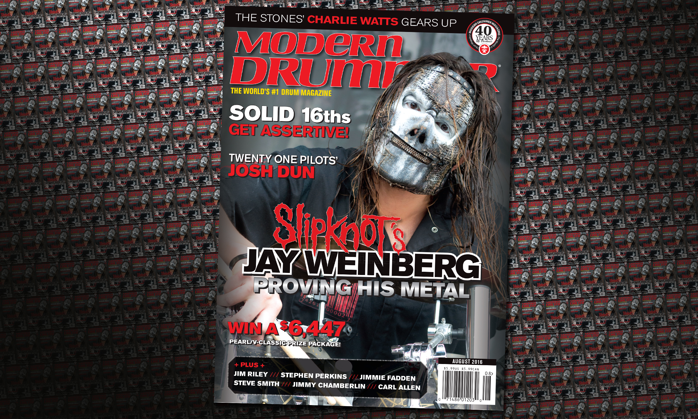 Slipknot's Jay Weinberg on the August 2016 issue of Modern Drummer
