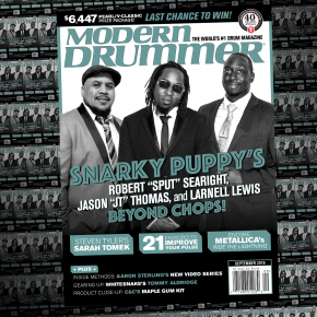 """September 2016 Issue of Modern Drummer magazine featuring Snarky Puppy's Robert """"Sput"""" Searight, Larnell Lewis, and Jason """"JT"""" Thomas"""