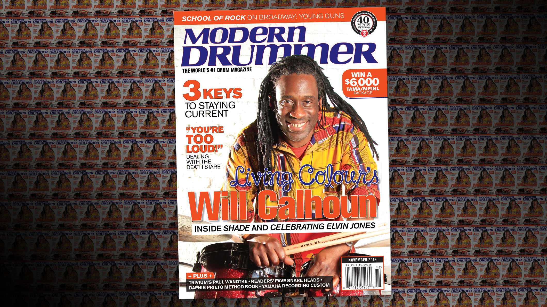 November 2016 Issue of Modern Drummer magazine featuring Living Colour's Will Calhoun