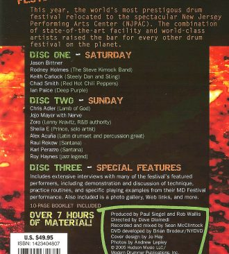 2005 Modern Drummer Festival Weekend DVD Set Back Cover