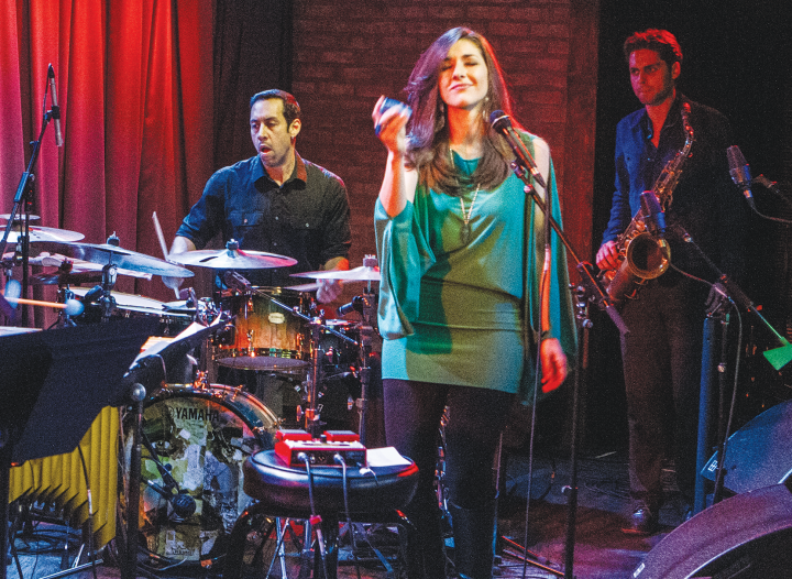 Sanchez with singer Thana Alexa, at the release party for Alexa's Ode to Heroes album at SubCulture in New York City on March 23, 2015. Ben Flocks is on sax.