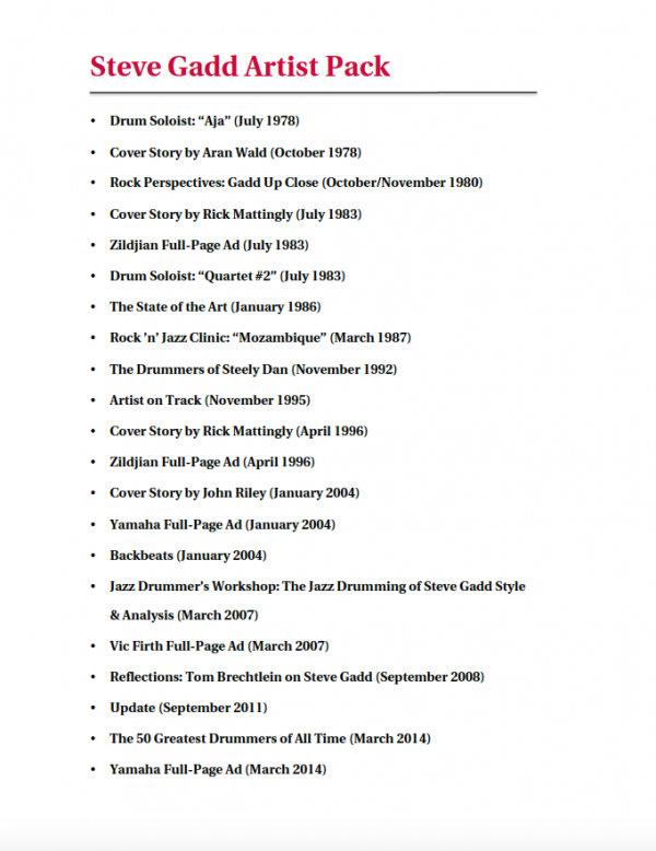 Steve Gadd Artist Pack Table of Contents