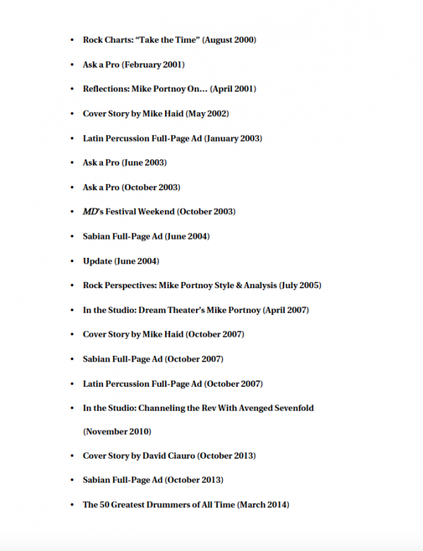 Mike Portnoy Artist Pack Table of Contents