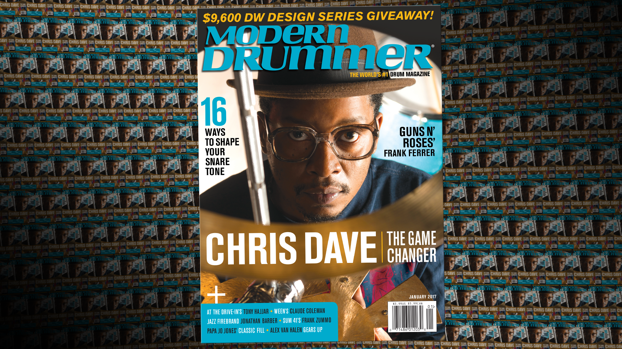 January 2017 Issue of Modern Drummer magazine featuring Chris Dave