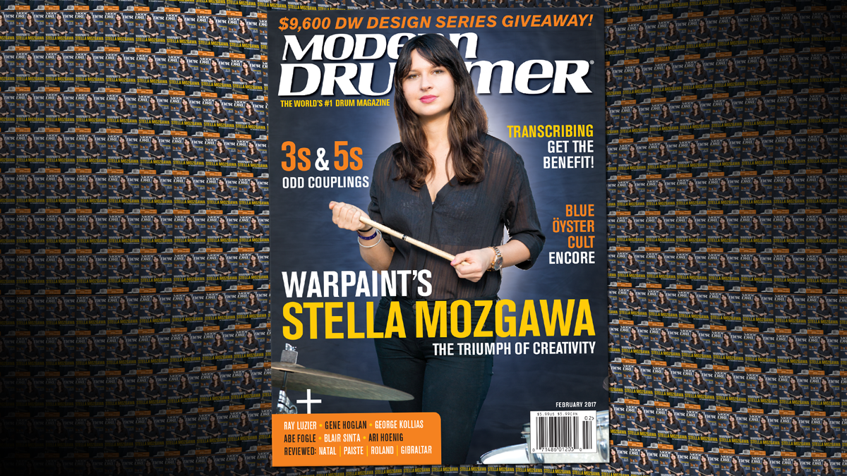 February 2017 Issue of Modern Drummer magazine featuring Warpaint's Stella Mozgawa