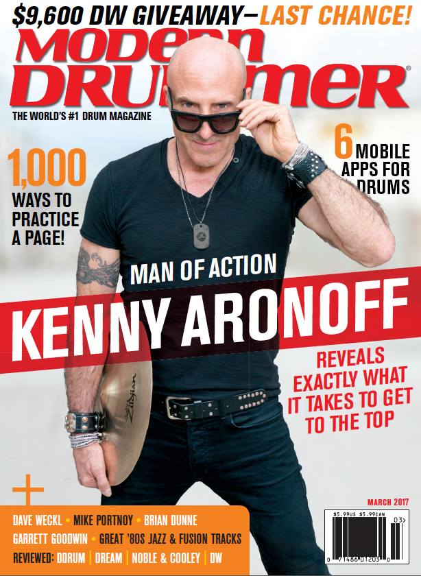 March 2017 Modern Drummer featuring Kenny Aronoff