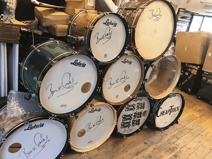 A few of Bun E.'s Ludwig bass drums.