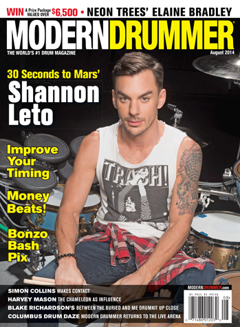 August 2014 Issue of Modern Drummer magazine Featuring Shannon Leto of 30 Seconds to Mars