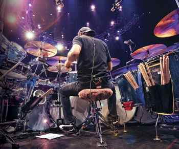 Alex Van Halen behind the drumkit