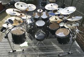 drummer Jason Bittner's drumkit