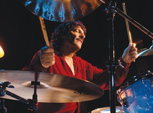 Drumming Great Carmine Appice playing at his drumkit