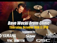 "The ""Original"" Long Island Drum Center will present jazz/fusion great Dave Weckl in an exciting drum clinic on Thursday, October 16 at 7 pm...."