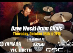 """The """"Original"""" Long Island Drum Center will present jazz/fusion great Dave Weckl in an exciting drum clinic on Thursday, October 16 at 7 pm...."""