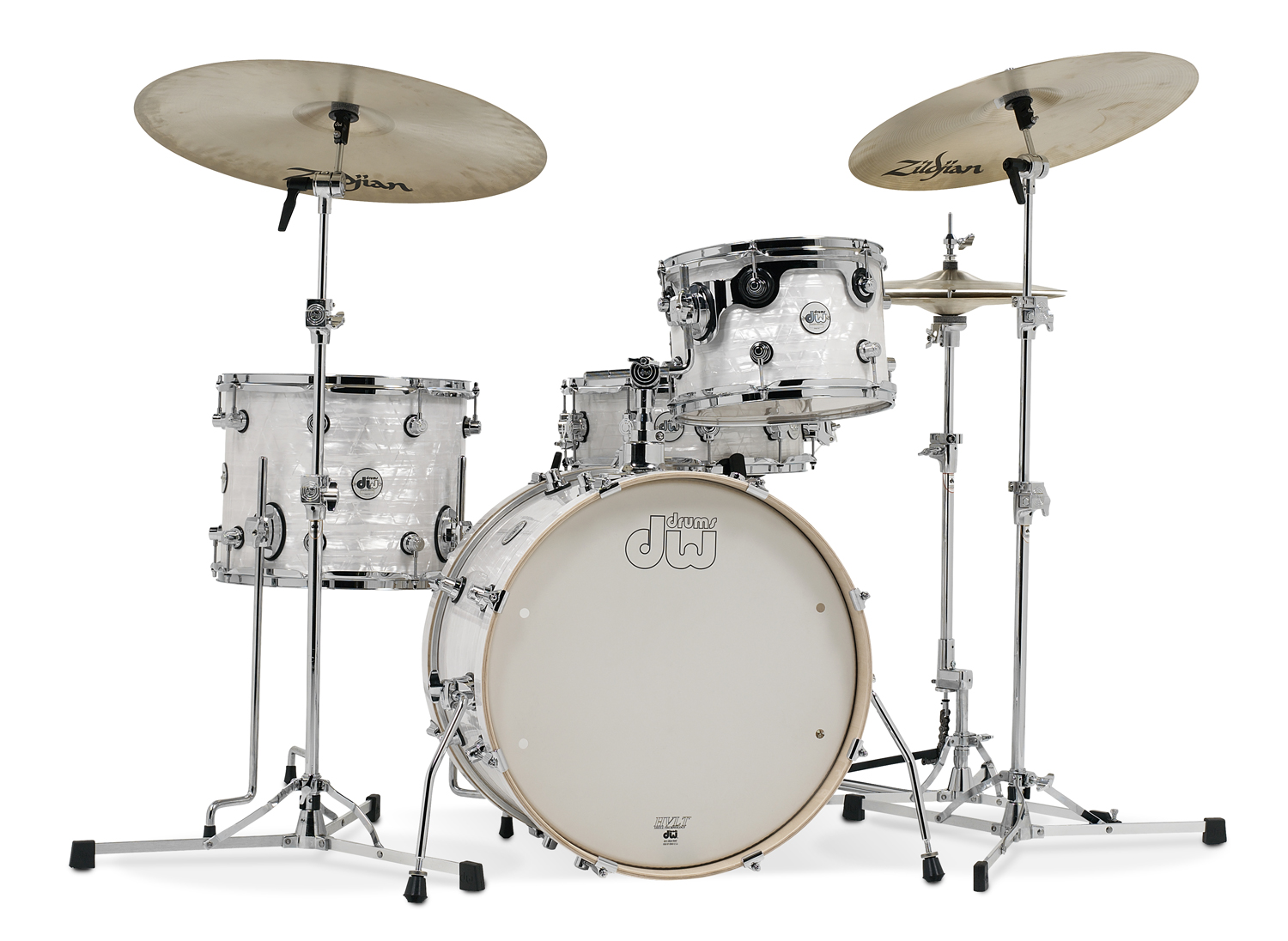 dw Frequent Flyer drumkit white onyx