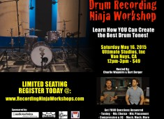 The Drum Recording Ninja Workshop is being offered to teach drummers how to create the best drum tones possible and to answer questions about tuning, mic choice, mic placement, compression, EQ, and more.