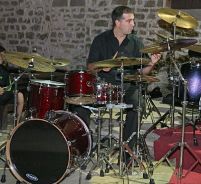 Camp director/percussionist Petar Curic taught the essential elements of drumming.