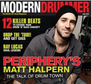 Periphery's Matt Halpern of the July 2012 issue of Modern Drummer magazine