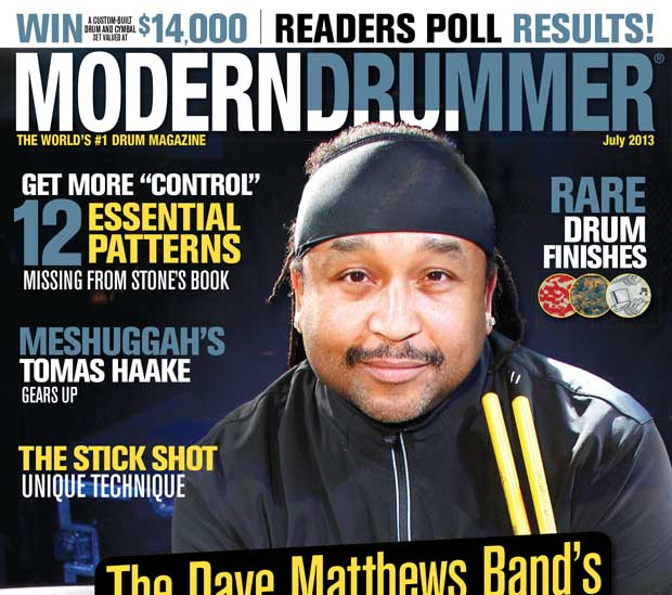 July 2013 Issue of Modern Drummer featuring Drummer Carter Beauford of Dave Matthews Band Contents
