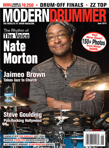 May 2014 Issue of Modern Drummer magazine Featuring Nate Morton