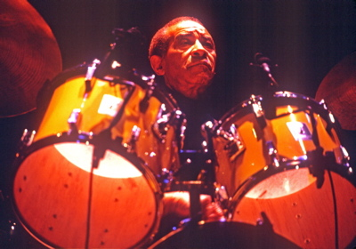 Drumming Great Max Roach behind his kit