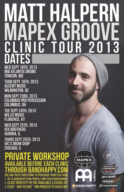Matt Halpern Mapex Groove Clinic Tour Dates for September