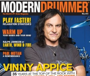 Vinny Appice on the May 2012 cover of Modern Drummer Magazine