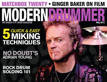 May 2013 cover of Modern Drummer magazine featuring Joy Kramer