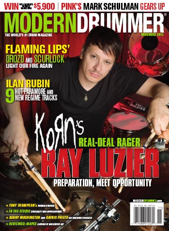 Drummer Ray Luzeir on the November 2013 cover of Modern Drummer