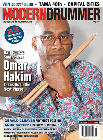 Modern Drummer July 2014 Cover Featuring Omar Hakim