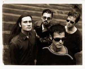 Shudder to Think in the early '90s. From left: bassist Stuart Hill, guitarist Nathan Larson, singer Craig Wedren, drummer Adam Wade