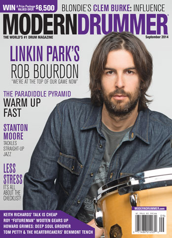 August 2014 Issue of Modern Drummer magazine Featuring Rob Bourdon of Linkin Park