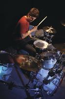drummer Rob Bourdon playing