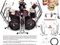 This is the kit Glen used on the 2012-13 Alice Cooper tour! The Mapex MyDentity set features 7-ply maple shells with 30-degree bearing edges and includes two 18x22 bass drums...