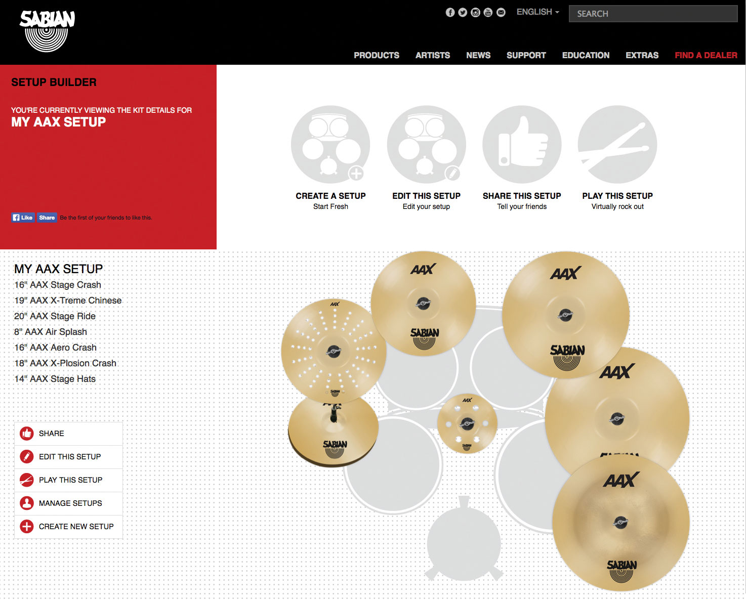 Sabian Relauches Set-Up Builder at Cymbalsetup.com