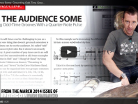"Click here to check out a video lesson to accompany March 2014's Rock & Jazz Clinic, ""Give the Audience Some!"""