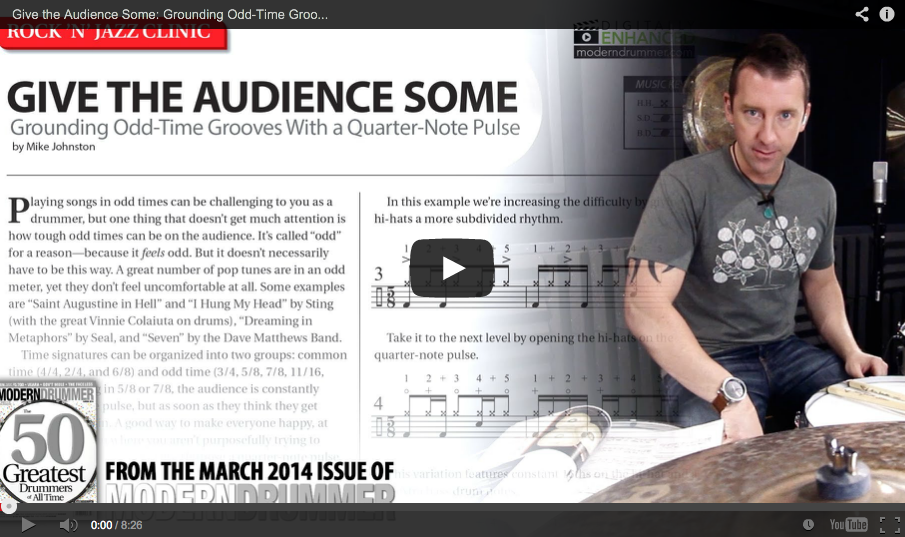 Drummer Mike Johnston Video Lesson