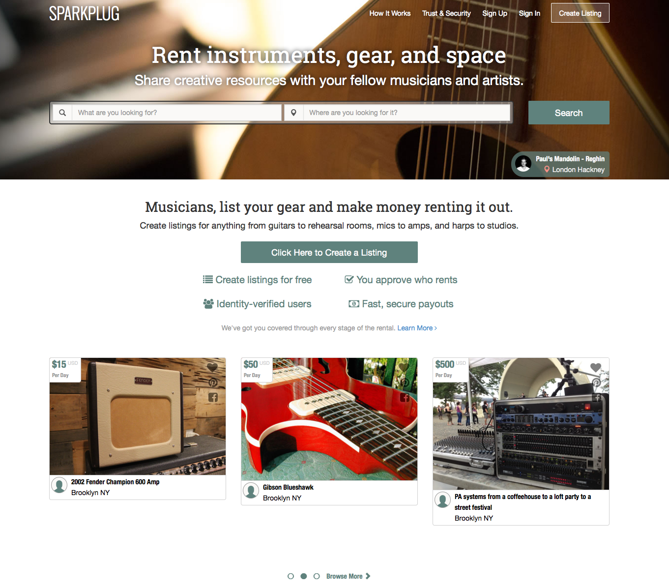 Sparkplug Online Instrument, Gear, and Space Rental Opens