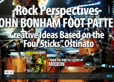 In this lesson we'll focus on a foot pattern that Bonham used often: an alternating pattern between the feet, starting with the left on the hi-hat pedal. Click here to check out a full video demo!